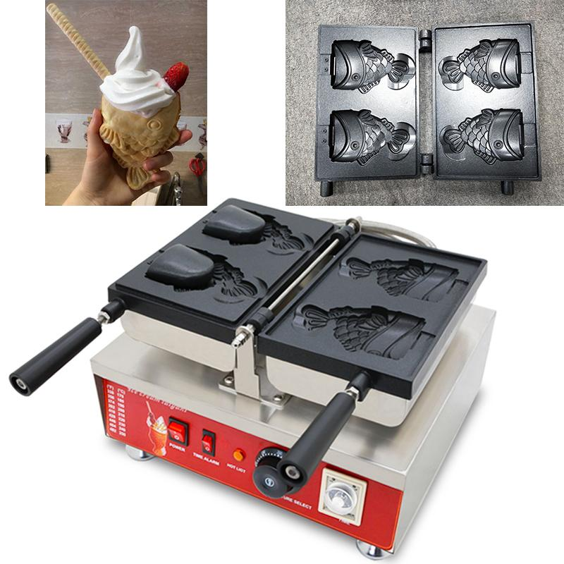 110 v 220 v yapışmaz Dondurma Taiyaki Koni Makinesi Elektrikli Balık Şekilli Koni Waffle Makinesi Demir Baker Yapma Pan Plaka