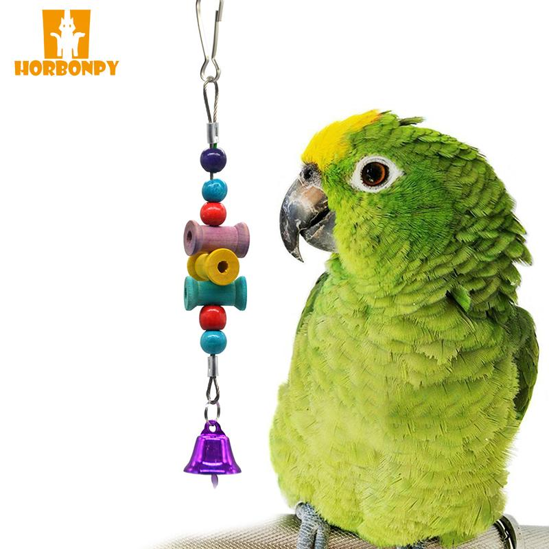 HORBONPY Funny Parrot Toys wood Suspension Hanging Chain Bell ringing Pet Bird Parrot Chew Toys Bird Cage for supplies