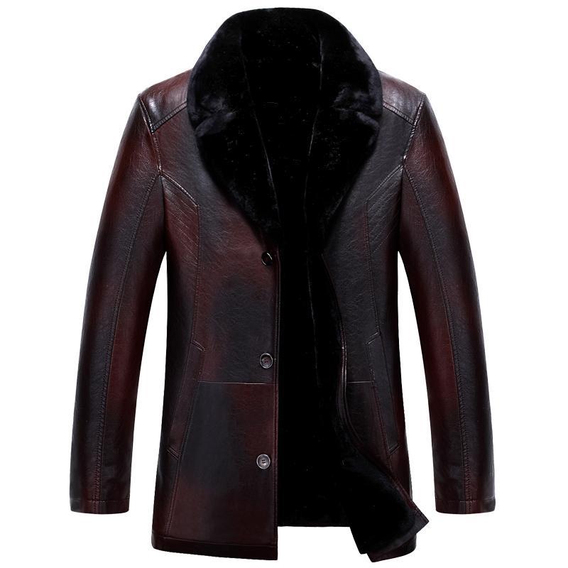 جودة عالية سميكة الدافئة رجل سترة جلدية ومعطف الأزياء عارضة ملابس رجالية jaquet الروسية الشتاء سترة جلدية سوداء