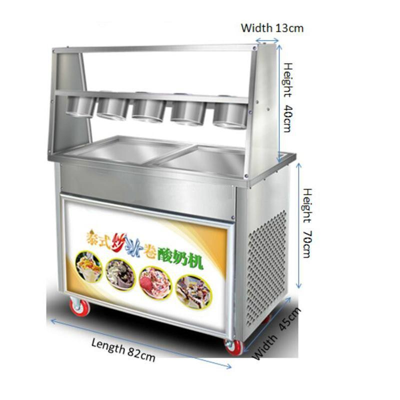 satılık 5 küçük kase kızarmış dondurma makinesi ile Ticari 2 kare saksı Tay yoğurt kızartılmış Meyveli dondurma rulo makinası