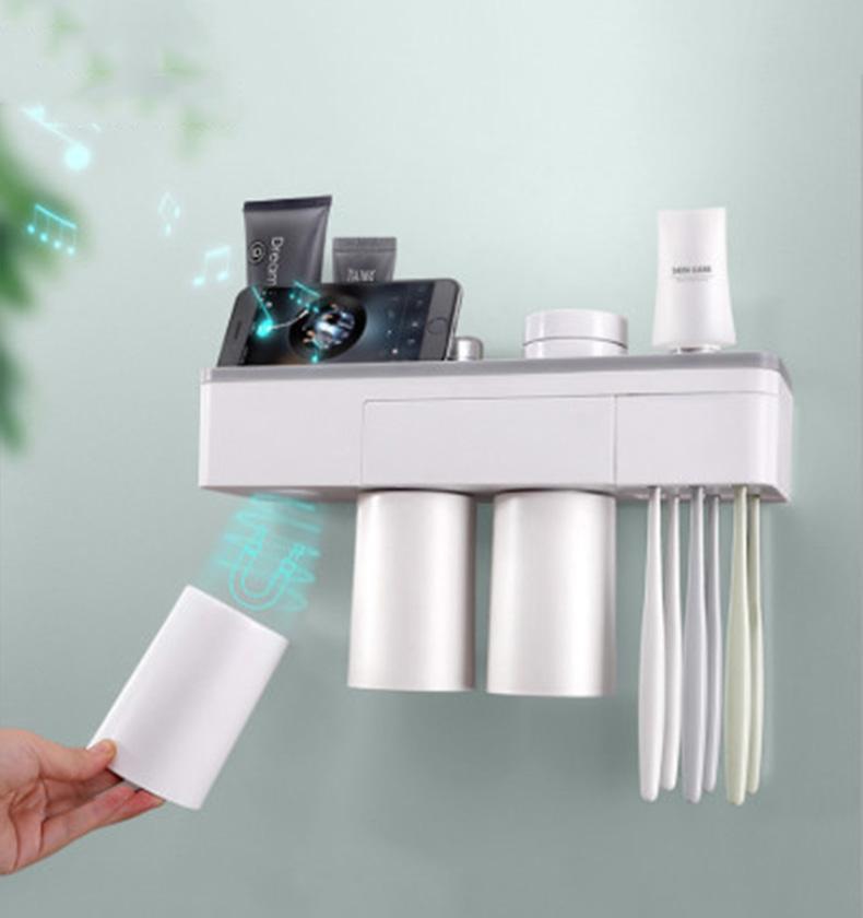 Creative Porte brosse à dents Dentifrice Distributeur automatique Extrudeuse magnétique Ventouse Brosse à dents pour salle de bain étagère de rangement
