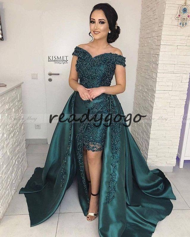 Elegante Fora Do Ombro Esmeralda Verde Árabe Vestido de Noite com Trem Destacável Kaftan Dubai Mulheres Plus Size Formal Prom Vestidos