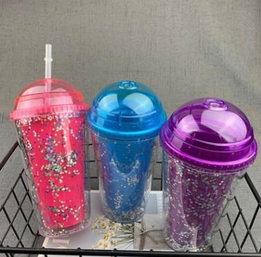 Transparent color double straw plastic cup fashion personality star flash pink trend water cup