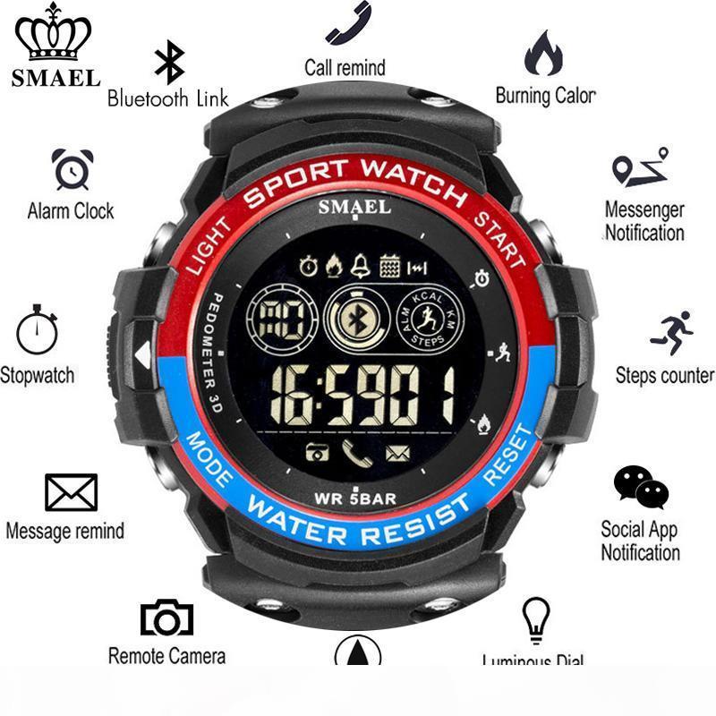 Smael calories rappel multi-fonctions Smartwatch Sport Hommes intelligent Montre Homme Podomètre numérique Montres Hommes Bluetooth
