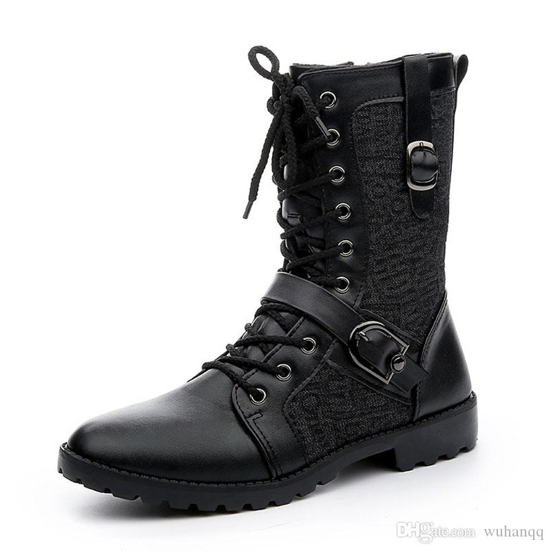 Autumn Punk Botas Homens Moda PU Leather Lace-up da motocicleta Botas Preto Vintage High Top Buckle Shoes Man