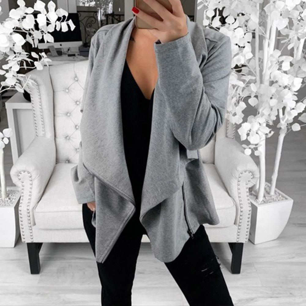 New Suit-dress Sweater Irregular Oblique Zipper Solid Color Leisure Time Sweater Loose Coat Women Chaqueta Mujer