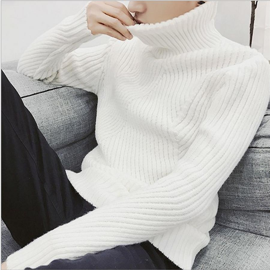 2020 White Black Turtleneck Sweater Men Pullovers Winter Thicken Cashmere Mens Knitted Jumpers Male Turtle Neck Sweater Pull V191022 From Huafei02,