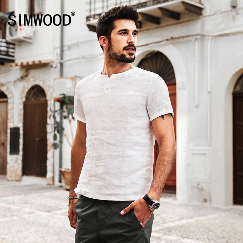Simwood 2019 Sommer Shorts Hülse Männer Shirts 100% Leinen Atmungsaktiv Slim Fit Markenkleidung Plus Größe Rein Und Natur Cs1589 C19042101