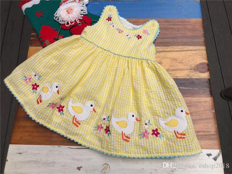 새로운 INS 여자 아이의 의류 여름 드레스 라운드 칼라 자수 꽃 디자인 녹색 소녀 드레스 여름 우아한 공주 드레스