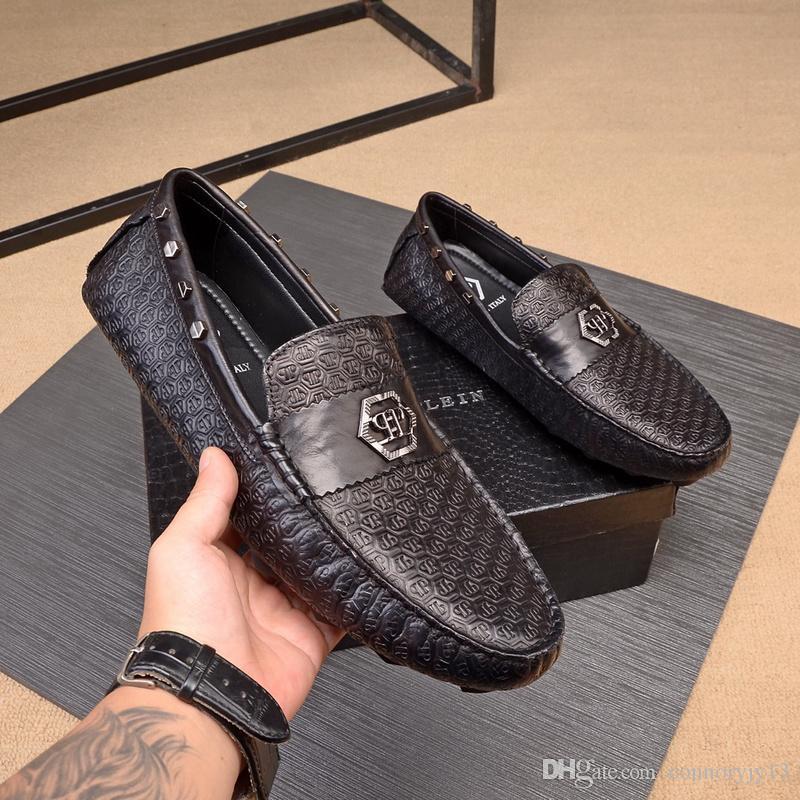 çift Hasp Orijinal A2 9 tarzı Üst Lüks tasarım Lüks Chaussure Homme Büro İş Düğün Suit Elbise Loafers Kahverengi Siyah Ayakkabı