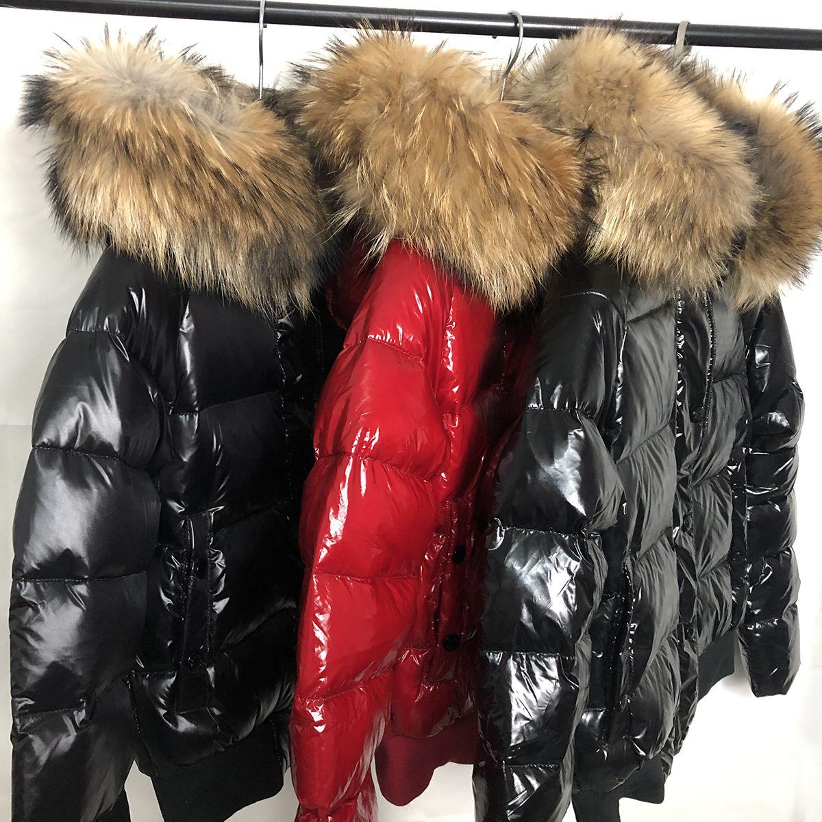 Womens Down jacket fur hood Bright red winter Parkas White duck down coats Black women Down jacket bomber jacket S-XL (UK S=L)