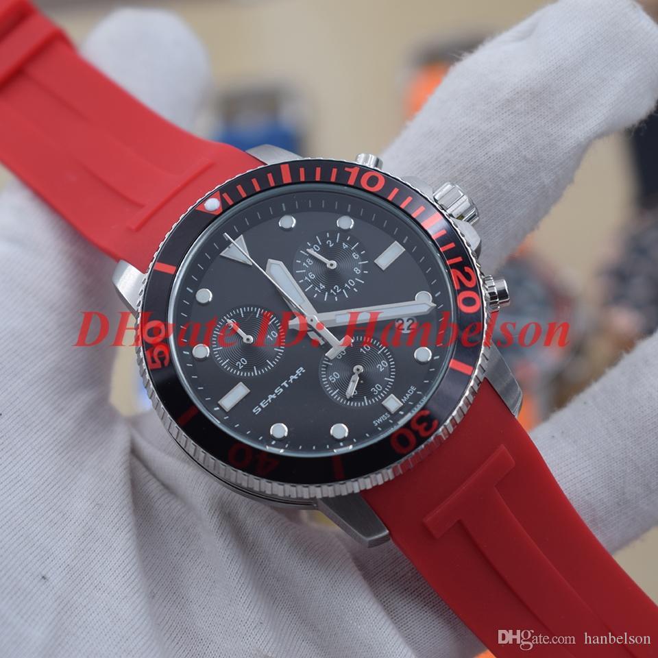 Moda T-SPOR erkekler izle Kuvars hareketi Fonksiyonlu kronograf reloj de lujo Siyah yüzü Kırmızı kauçuk kayış 45mm saatler