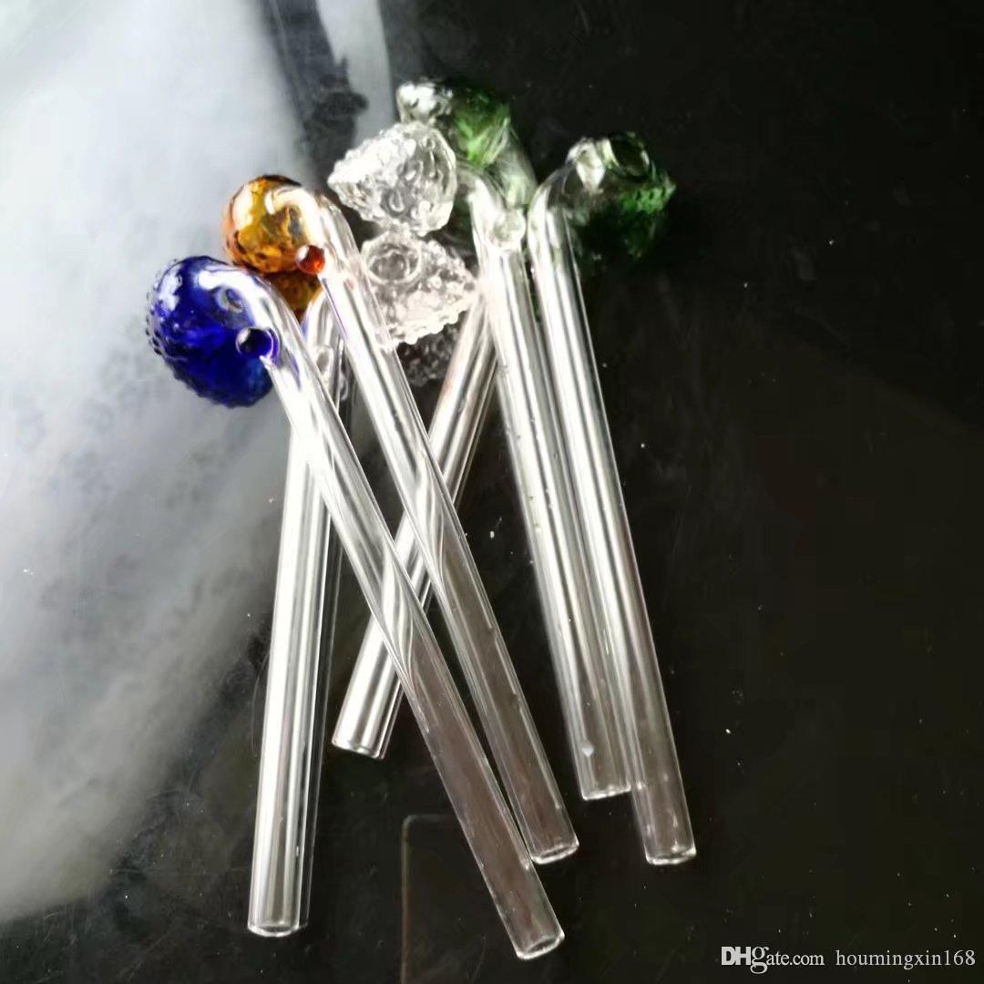fragola colore testa curva vaso, commercio all'ingrosso Bong vetro, tubi del bruciatore a nafta di vetro acqua, accessori fumo di pipa
