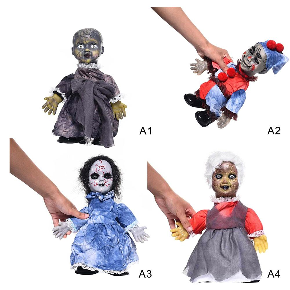 Creative Electric Glowing Walking Doll Toys Creepy Halloween Ghost Props Horror Halloween Decoration Party Suppies Kids Gift