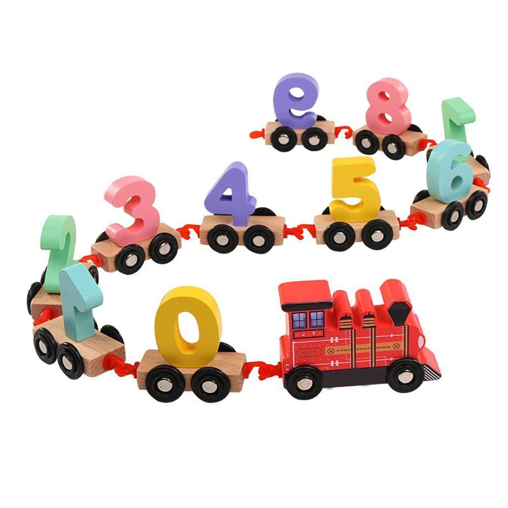 Çocuk Erken Eğitim Yapı Taşları Sayılar Tren Montaj Ahşap Oyuncak Numarası Tuğlalar Eğitici Bebek Oyuncakları İçin Çocuk