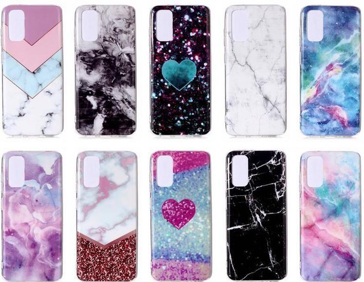 For Samsung S20 Ultra Plus A70E A51 A71 A01 A21 A11 A41 Marble IMD Soft TPU Case Natural Granite Stone Rock Heart Love Luxury Skin Cover