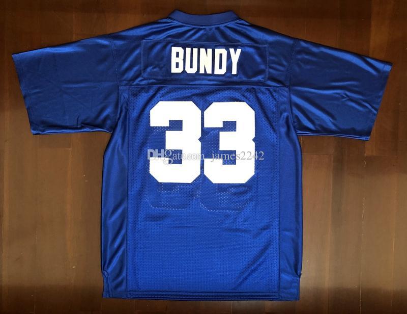 Expédition De Etats-Unis Al Bundy # 33 Polk haut marié avec des enfants Hommes Film Football Jersey Tous Cousu Bleu S-3XL de haute qualité