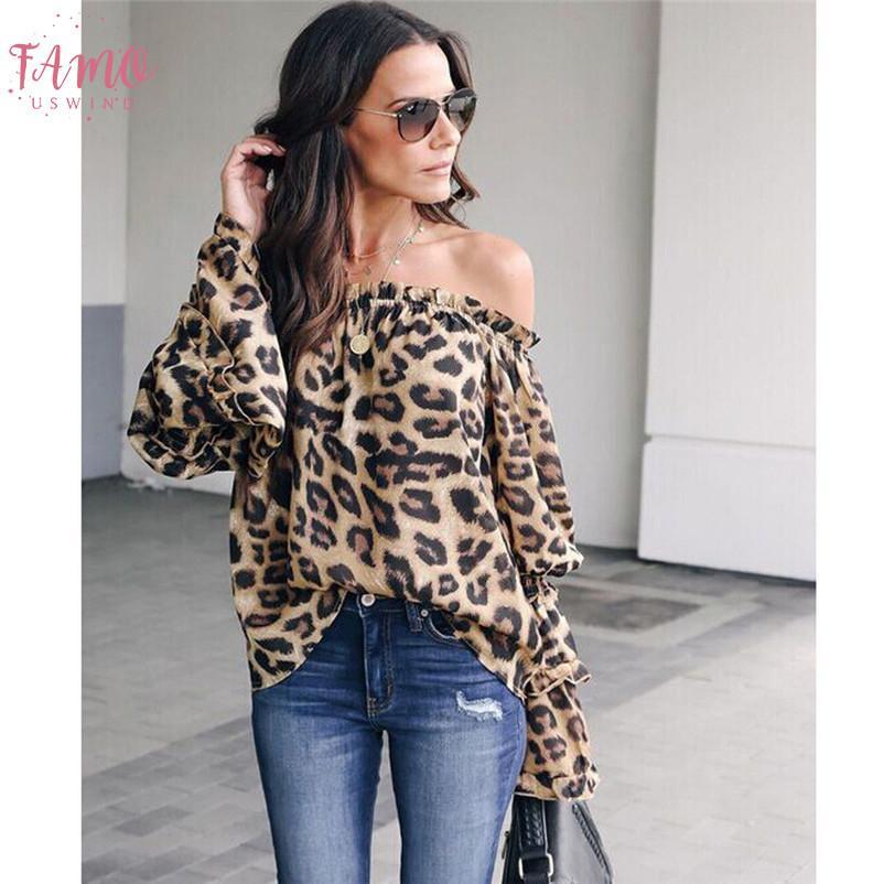 Moda Nedensel Gevşek Kadınlar Lady Leopard Print Uzun Kollu Omuz Gömlek Kazak Bluz Sonbahar Elbise Kapalı Tops