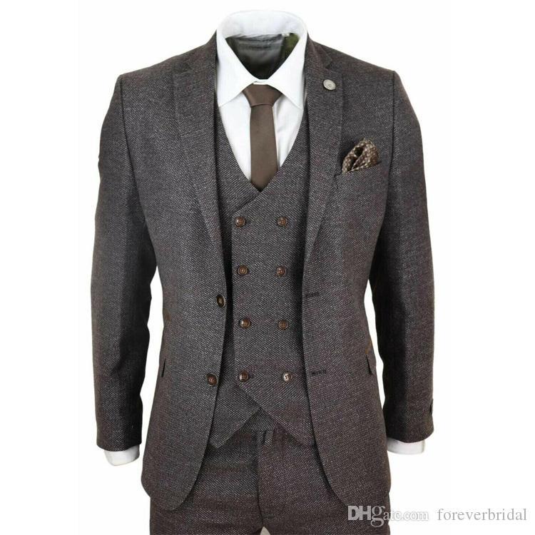 Brown Tweed Dois Botões Notched Lapela Do Noivo Do Casamento Smoking Ternos Dos Homens Do Partido do baile de finalistas Melhor Homem Blazer Terno (Jacket + Vest + Calças)