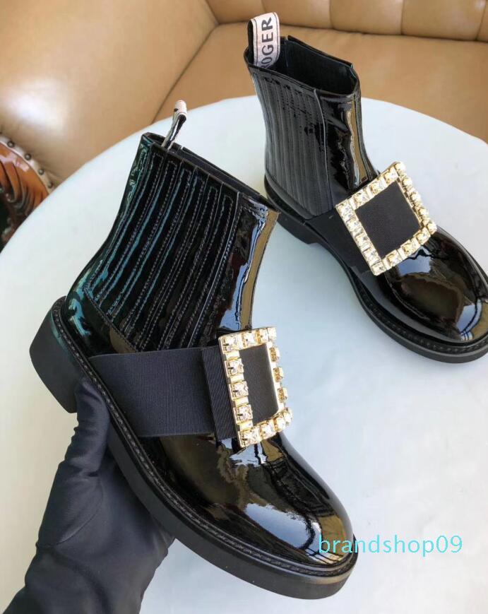 bottes Vente-Designer Hot femmes ridé cuir diamant classique botte haute noir mode fêtarde bottes Martin