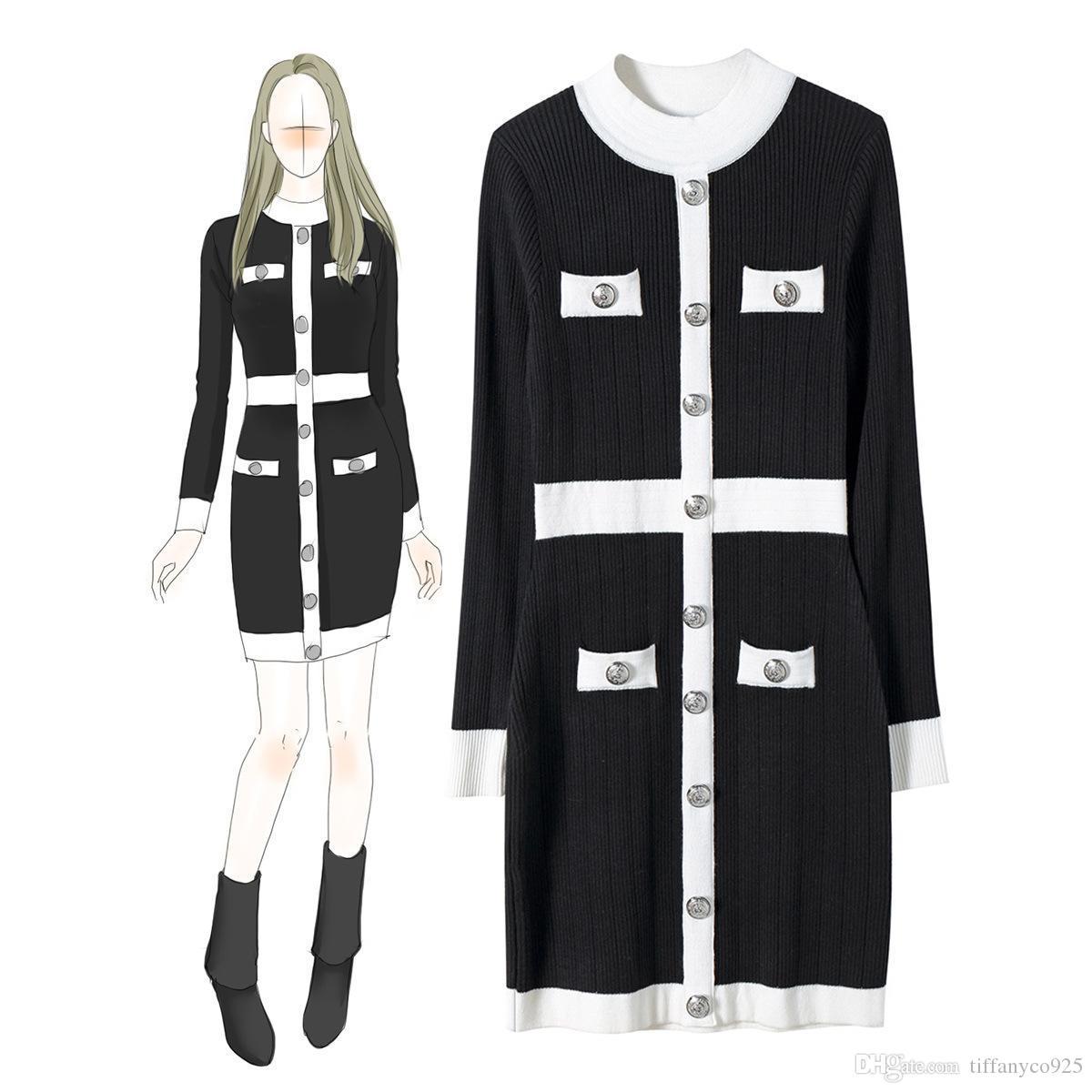 2020 otoño invierno Blanco / Negro Ronda de manga larga cuello del color del contraste de punto con paneles de botones Mini vestido corto Varios vestidos ND06911305