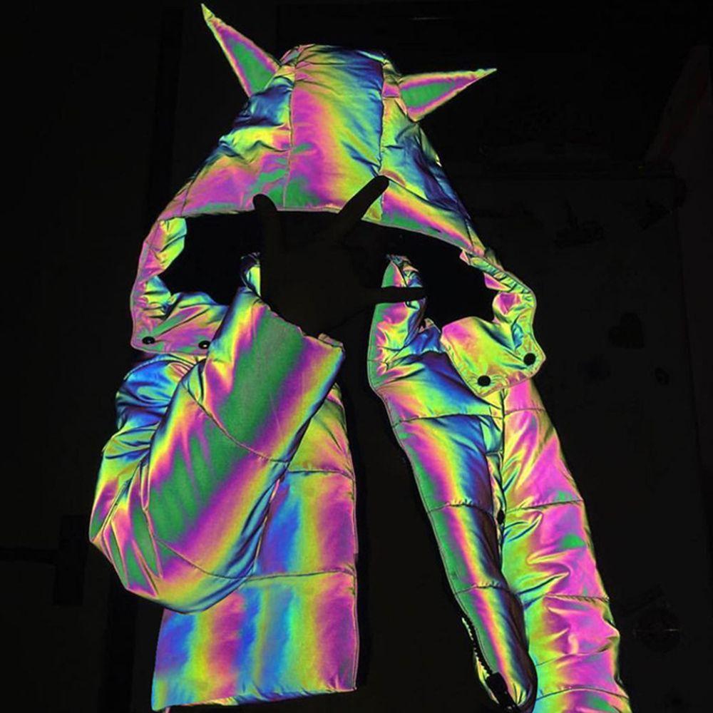 الشتاء لطيف المرأة العاكسة لونغ ستر أسفل هوديي جاكيتات كول بلينغ مضيئة مقنع أسفل سترة سميكة Outcoats فقاعة معطف