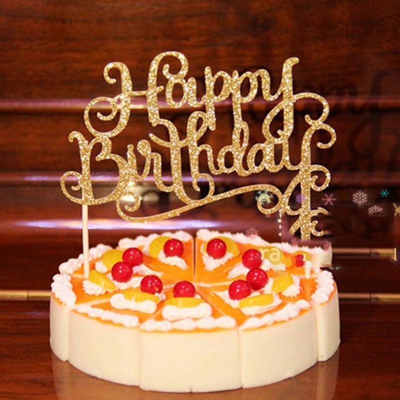 Fontes Glitter Papel feliz bolo de aniversário Topper Cupcake Sobremesa decoração para festa de aniversário do bolo da celebração Decoração