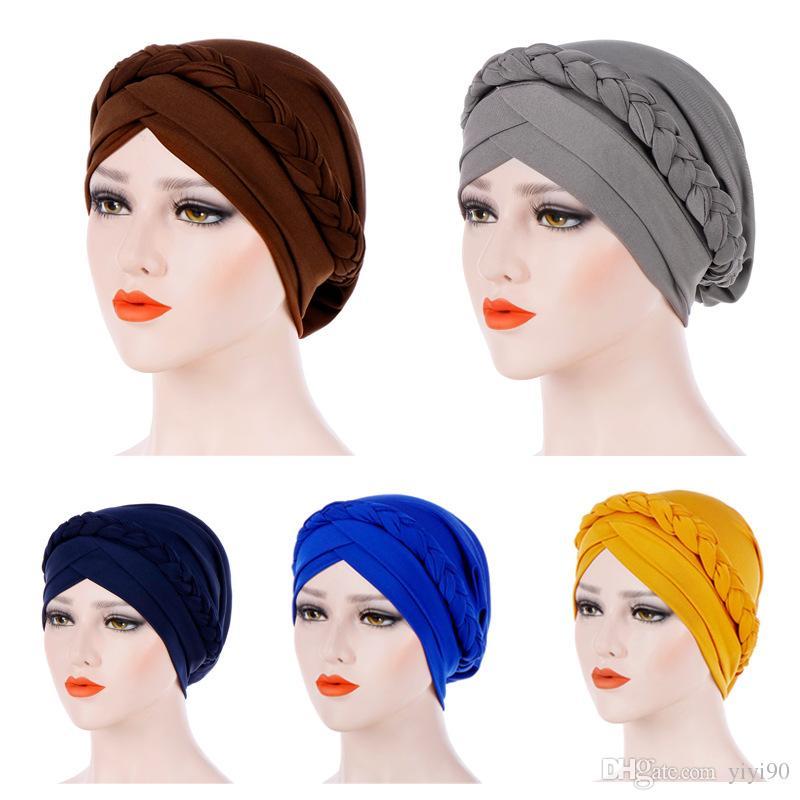 Kadınlar için müslüman Başörtüsü Örgü Çapraz Ipeksi Türban Şapka Kanser Kemo Kasketleri Cap Headwrap Şapkalar Saç Dökülmesi Kapak Aksesuarları
