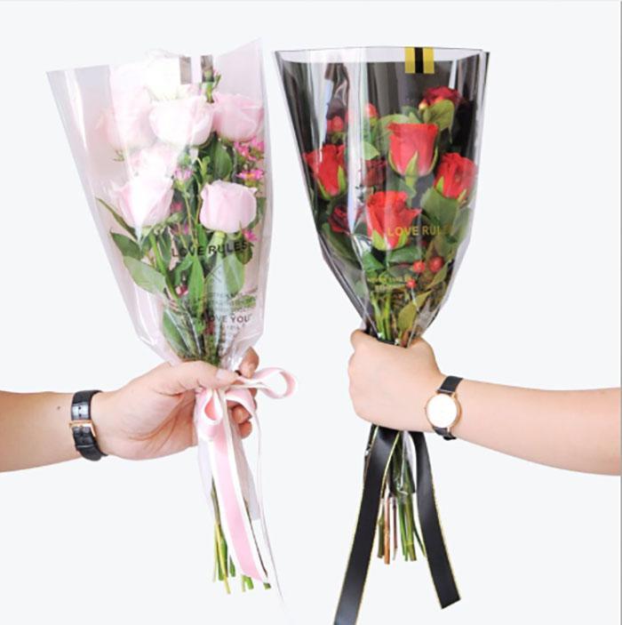 50 adet / grup Hediye-Wrap Ambalaj Kağıdı Çiçekler için Gül Çiçekçi Ambalaj Kağıtları Tek Gül Çiçekler Hediye Düğün Çiçek Paketi