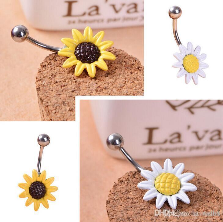 Mode Daisy Blume Bauchnabel Ringe Piercing Nabel Schmuck Hohe Qualität Chirurgenstahl Sunflower Navel Ringe