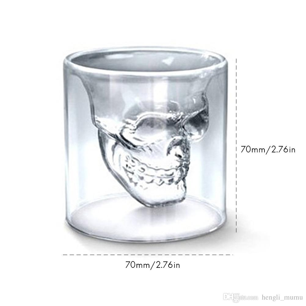 75ml Wine cup Double Layers Crystal Mug Skull Head Whiskey Drinking Glass Cup Home/Party Drinking Ware Accessories Dropshipping HK0222