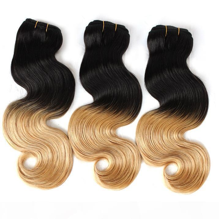 Перуанский Omber волос 14 «-30» Человек Плетение волос Уток Ombre Dip Dye Two Tone # T1B # 27 Цвет волос Выдвижение Объемная волна 3шт 8А