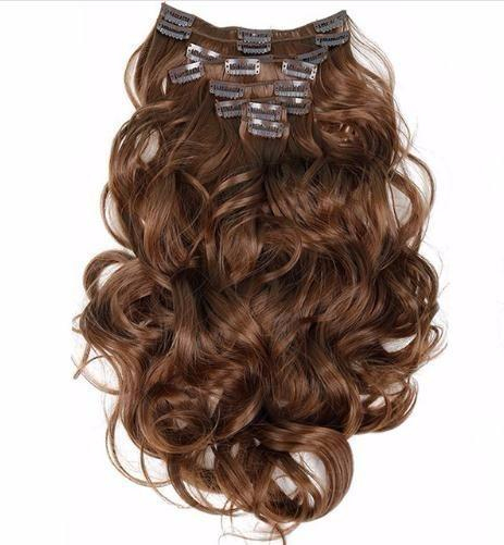 2019 Clip In Hair Extensions Synthetic Long Hairpiece Wavy 22inch 55cm Heat Resistant