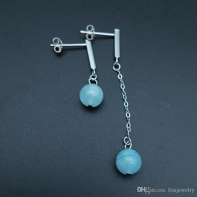 100% Sterling Silber 925 Schmuck Hochwertiger Saphir Baumeln und Kronleuchter Ohrringe Asymmetrische Ohrringe für Frauen