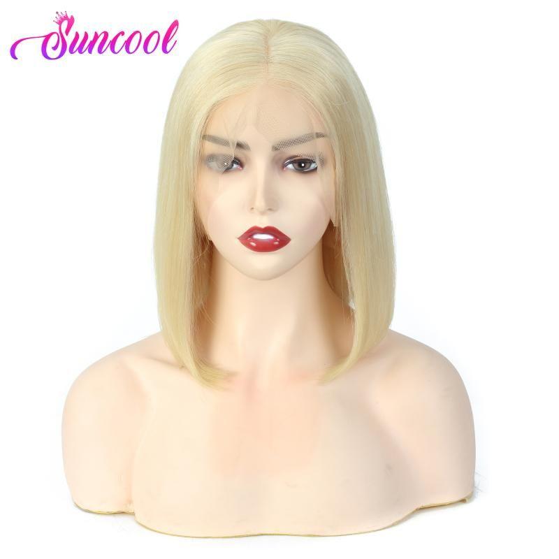 Droit Bob Lace Front Wigs Pré plumé Hairline Suncool Court humain Perruques droit brésilien Blonde 613 Lace Front
