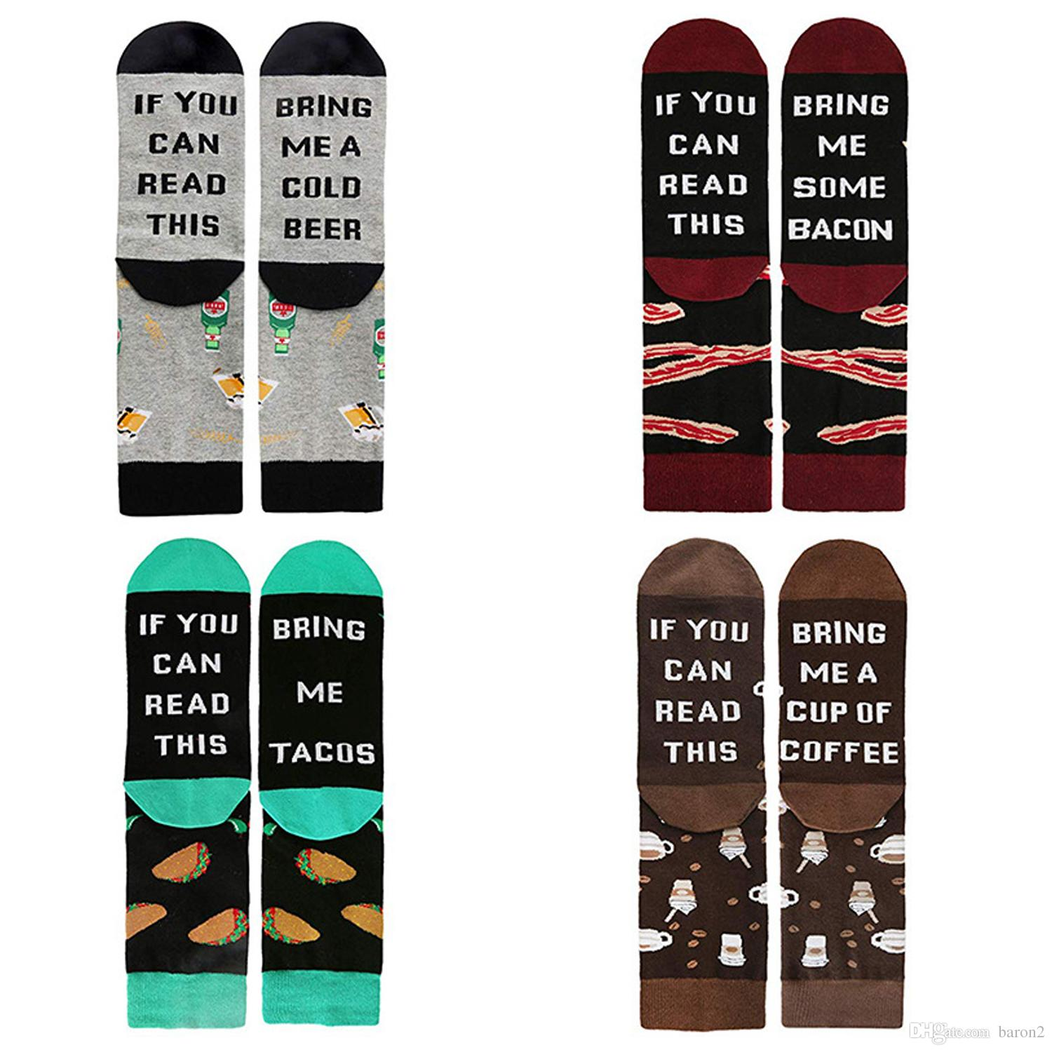 2019 Men's Novelty Funny Letter If You Can Read This Funny Saying Beer Wine Coffee Taco Donut Crew Socks