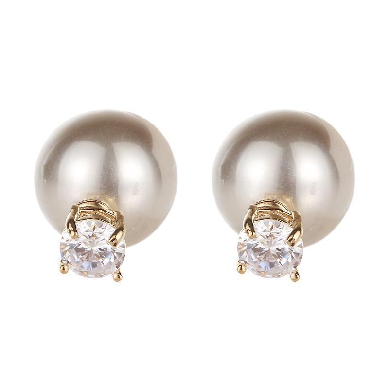 estilo-ins Marca al por mayor pendientes de la manera doble cara súper brillante circón aretes de diamantes de perlas de cristal para la mujer de oro blanco