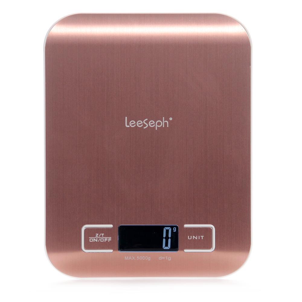 Bilancia da cucina digitale multifunzione scala dell'alimento, 11 lb 5 kg, acciaio piattaforma in acciaio con display a cristalli liquidi (in oro rosa / argento) T200326