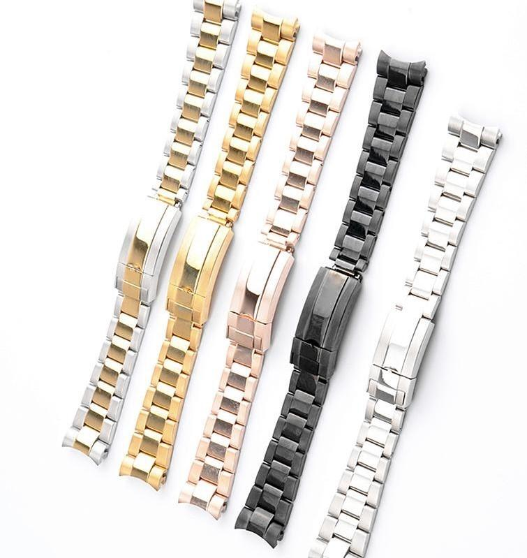 Fantasma de agua de acero inoxidable serie de la correa de tres cuentas de buceo Trabajo Combinación de Seguros hebilla sólido venda de reloj de 20 / 21mm
