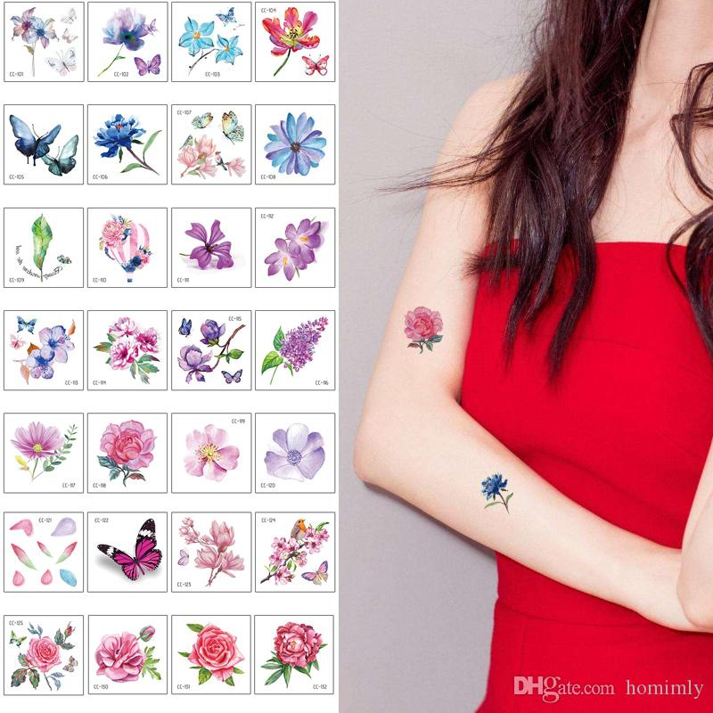 Small Flower Tattoo Sticker Beauty Woman Kids Cute Lotus Butterfly Rose Flower Design Temporary Body Art Tattoo For Arm Hands Neck Face Gift Make Fake Tattoos Make Your Own Temporary Tattoos At