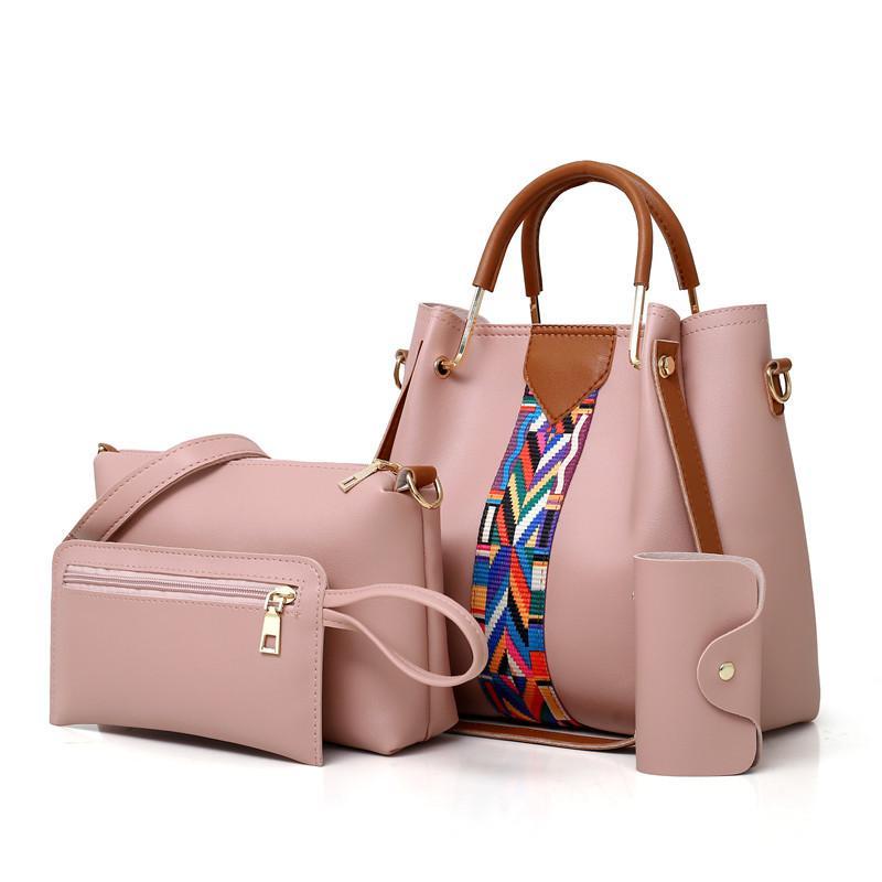 Дизайнерская мода Новая женская сумка и кошелек большой емкости 4 шт. Набор сумок Повседневная женская сумка через плечо Дизайнерская сумка