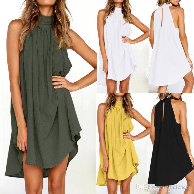 2019 verano nuevos modelos de explosión moda cómodo transpirable suelta cuello redondo pliegues vestido de algodón y lino chaleco
