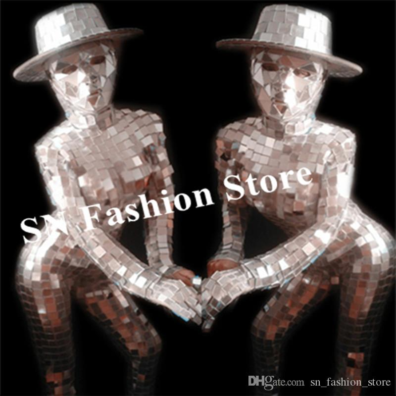 P19 Female stage dance costumes bar dj perform dress silver mirror bodysuit mirror gloves disco rave show outfits clothe hats ds party show