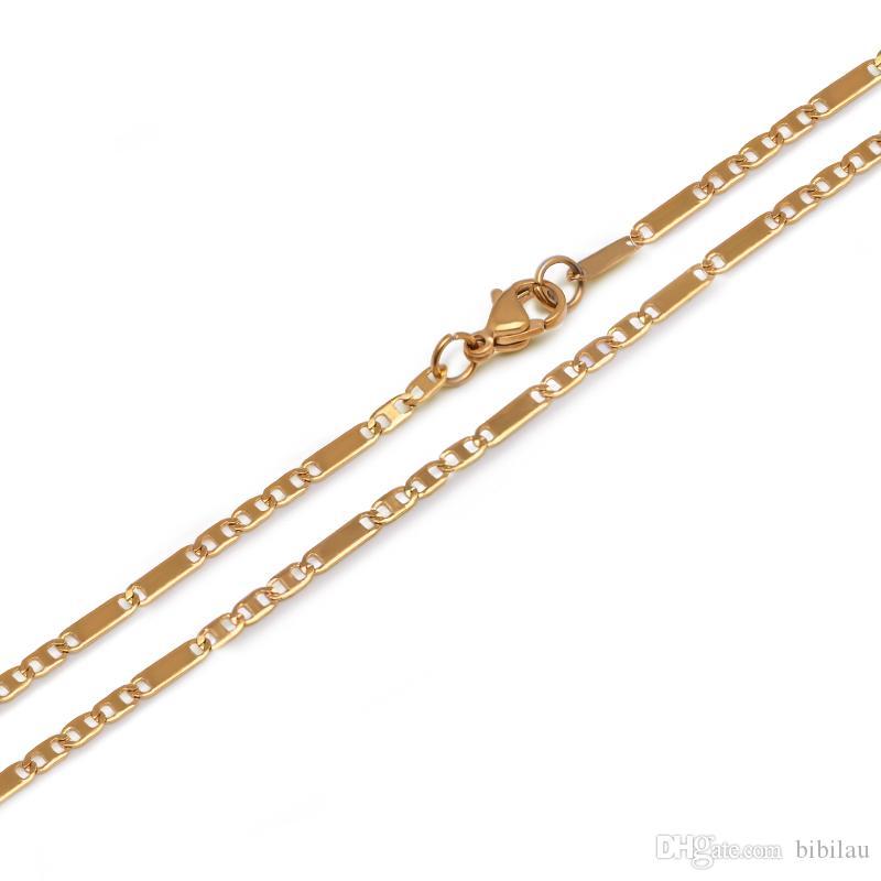 (TN-0024) ( 45 cm * 2.5 mm ) Titanium steel Gold Color Small Necklaces For Women Men Figaro Chain 3 :1 Fashion Jewelry No Fade