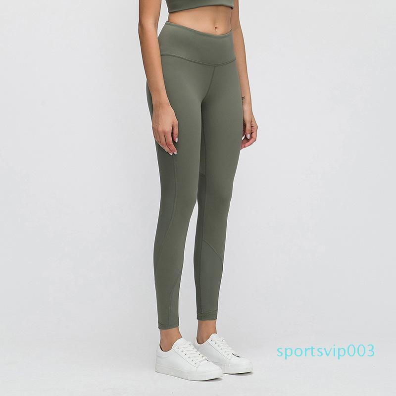 lu Designer Leggings Fadenheftung Yoga Pants Damen High Bounce Buttock Tasche Laufen Übung Fitness Pants