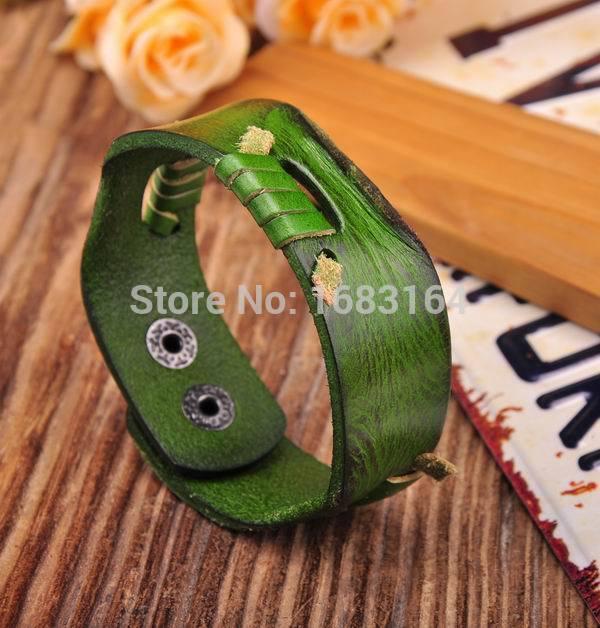 Verde fresco pulsera de cuero auténtico Brazalete Wrap LinedContrast nuevo Mens