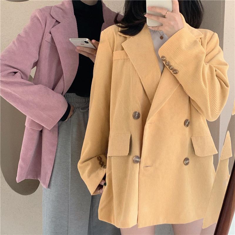 Heydress Chic Вельвет Женщины Blazer Сыпучие двубортный костюм куртка женщин костюм пальто женщина Outwear Blaser femininas