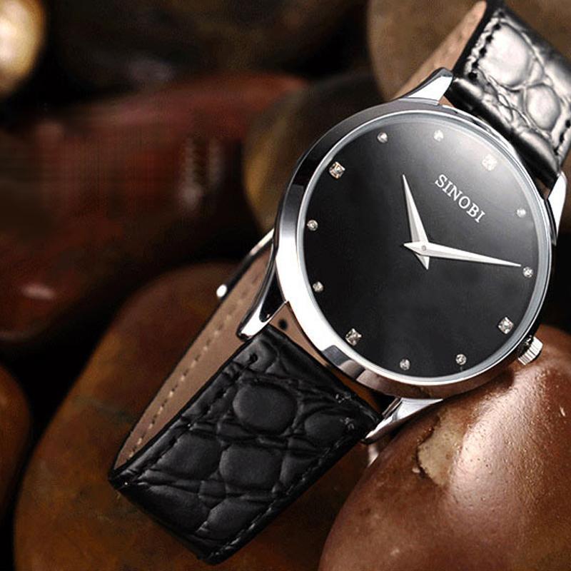 SINOBI ساعة كلاسيكي أزياء المرأة الأعلى العلامة التجارية جلدية فاخرة الشريط السيدات ساعة جنيف ووتش المعصم كوارتز Relogio Feminino