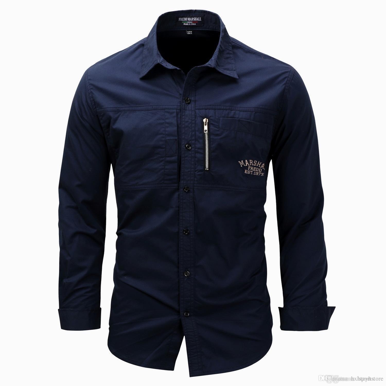 Gevşek Erkek Bluzlar Ekose Yaka Casual Gömlek Askeri Kargo Uzun Kollu Askeri Açık Casual Gömlek Ücretsiz Kargo