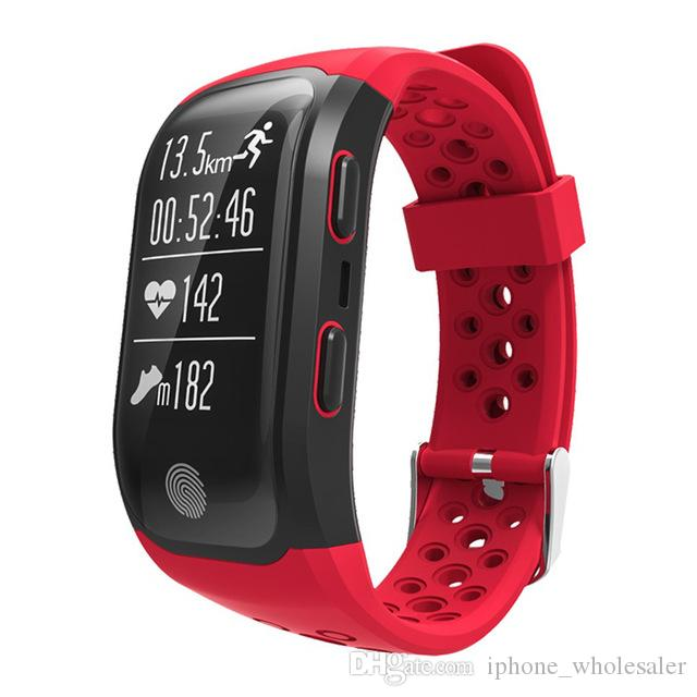 IPhone Android için S908 Rakım Ölçer GPS Akıllı Bilezik Nabız Spor Tracker Uyku Akıllı İzle IP68 Su geçirmez Kol